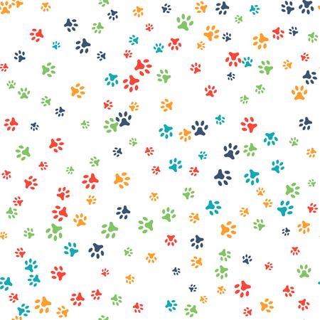 huellas de perro: vector sin patrón con el gato o el perro huellas. Puede ser utilizado para el papel pintado, de fondo página web de texturas de superficie. Añada su texto. patas de colores lindos. concepto Animal. Pie pasos. Veterinario. Vector