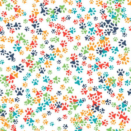 Vector naadloos patroon met hond of kat voetafdrukken. Kan gebruikt worden voor behang, webpagina achtergrond, oppervlaktestructuren. Voeg uw tekst. Leuke kleurrijke poten. Animal concept. Voetstappen. Dierenartsen. Vector Stock Illustratie