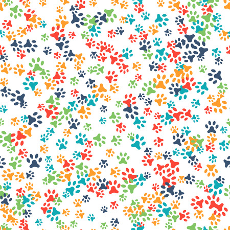 foot steps: Vector seamless pattern with cat or dog footprints. Can be used for wallpaper, web page background, surface textures. Add your text. Cute colorful paws. Animal concept. Foot steps. Veterinary. Vector