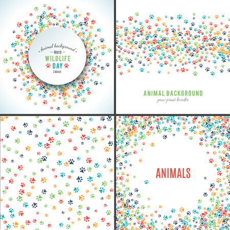 Background with paw prints. Set of patterns with animal paws. Free hand style illustration design. Dog or cat pet footprints. Place for your text. Mammal track. Wildlife concept. Footstep. Vector