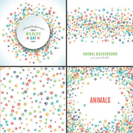 발 인쇄와 배경입니다. 동물의 발과 패턴의 집합. 무료 핸드 스타일 그림 디자인. 개 또는 고양이 애완 동물 발자국. 텍스트를 배치합니다. 포유류 트랙