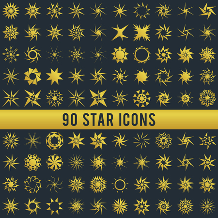 light ray: Set of vintage sgold star. Geometric shapes and light ray collection. Hipster style frames. Vector illustration of grunge design. Golden shapes isolated on dark background Illustration