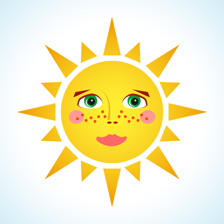bright sun: Vector cute smiling sun isolated on white background. Pretty yellow sun. Hot summer design element. Sunrise and sunset. Bright nature graphic. Solar system. Sunny weather. Illustration