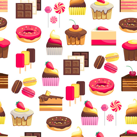 objects paper: Seamless pattern with sweet dessert objects. Abstract background with tasty gourmet items. For wallpaper and wrapping paper. Food vector design illustration. Retro confectionery. Pastry. Illustration
