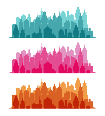 megapolis: Set of cityscape colorful background. Skyline silhouettes. Luxury architecture. Medieval castles and modern urban landscape. Horizontal banner with megapolis panorama. Building icon. Vector