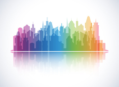 downtown district: Cityscape colorful background. Skyline silhouette. Town architecture. Downtown skyscrapers. Modern urban landscape. Horizontal banner with megapolis panorama. International district. Vector Illustration