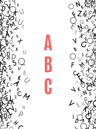 Alphabet Frame isolated on white background. Copy space for education, literacy, back to school announcements, posters,  stationery, scrapbooks, albums. Mix of letters. Latin ABC. Literacy. Vector
