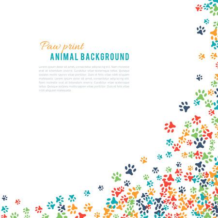 Colorful empreintes d'animaux ornement frontière isolé sur fond blanc. Vector illustration pour la conception des animaux. Aléatoire empreintes coin. Beaucoup sentier lumineux. Cadre mignon patte trace. jour de la faune mondiale