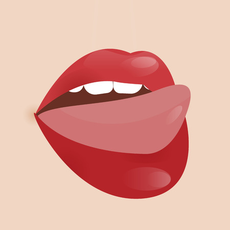 plump lips: Glamour vector lip icon.
