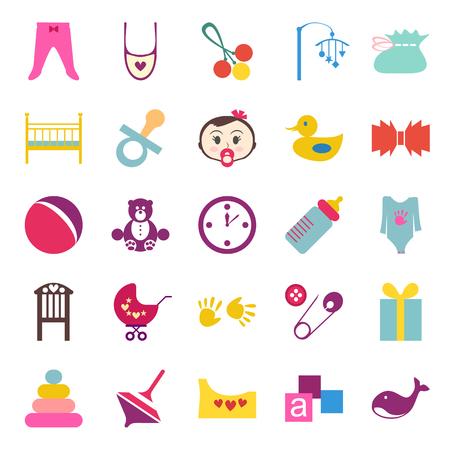 cute baby girls: Set of colorful baby item icons.