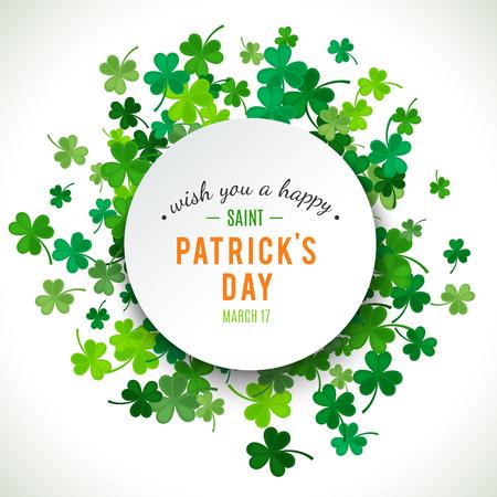 St Patrick's Day achtergrond. Vector illustratie voor geluk voorjaar ontwerp met klaver. Groene klaver grens en ronde frame op een witte achtergrond. Ierland symbool patroon. Ierse header voor web. Stock Illustratie