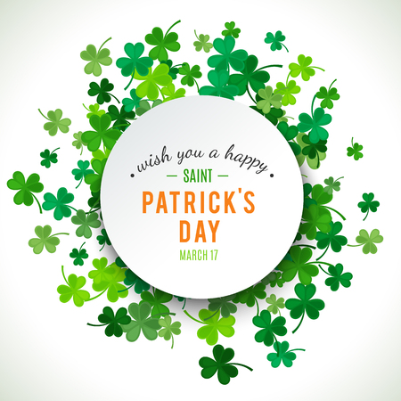 St Patricks Day background. Vector illustration for lucky spring design with shamrock. Green clover border and round frame isolated on white background. Ireland symbol pattern. Irish header for web.