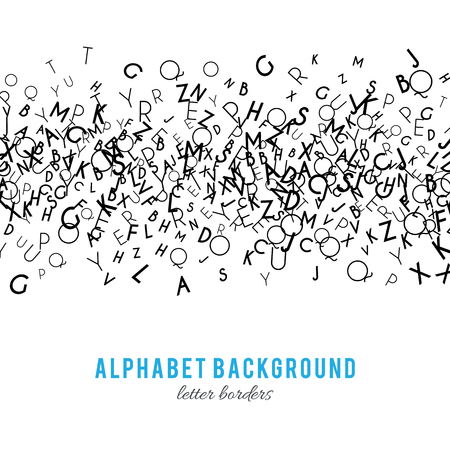 concepts alphabet: Abstract black alphabet ornament border isolated on white background. Illustration