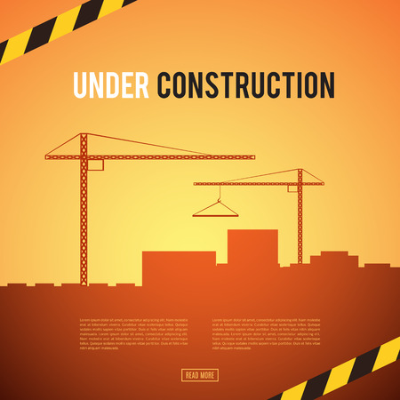 industrial construction: Building under Construction site. Construction infographics. Industrial area. Development of a modern city. Add your text. Engineering concept. No way. Danger. Vector illustration template design