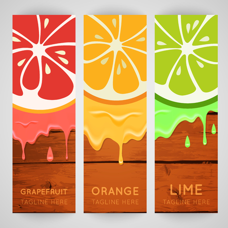 refreshments: Three bright banner with stylized citrus fruit and splashes.