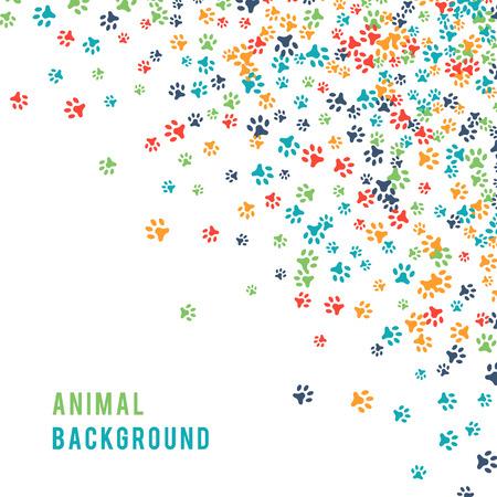 Kleurrijke dierlijke footprint ornament grens geïsoleerd op een witte achtergrond. Stock Illustratie