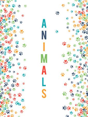 huellas de perro: Colorida huella de los animales ornamento frontera aislado sobre fondo blanco.