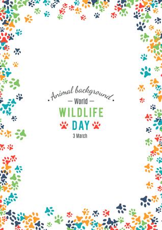 huellas de animales: Ilustración del vector del día de la fauna del mundo.