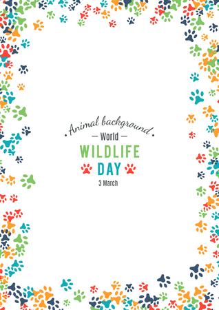 animal border: Vector illustration of world wildlife day.