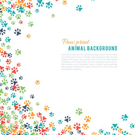 animal tracks: Colorida huella de los animales ornamento frontera aislado en blanco background.y