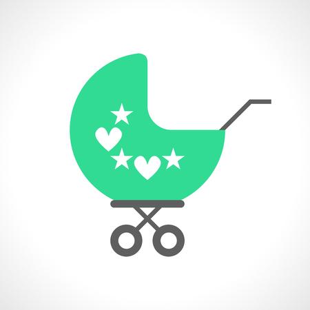hearts background: Illustration of baby pram icon isolated on white background.