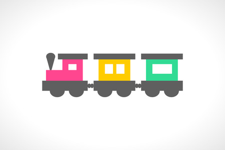 railway: Illustration of beautiful multi colored toy train. Cute toddler locomotive. Cartoon transport carriage. Vehicle elements. Railroad for lovely children. Transportation icon. Happy childhood. Vector