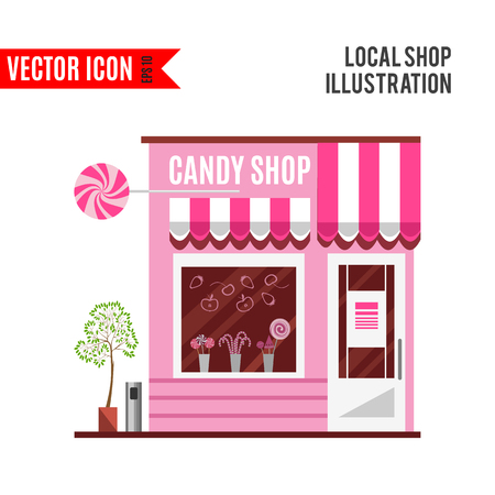 door sign: Candy shop in a pink color.
