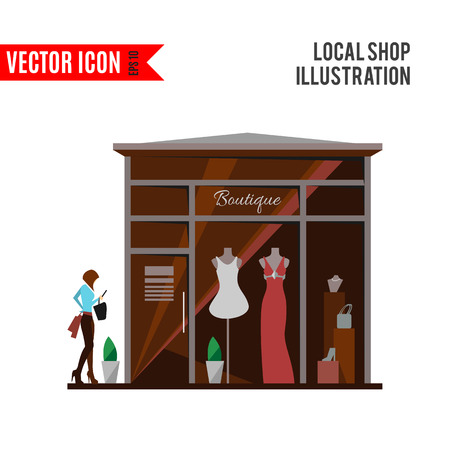 Clothing store Man and woman clothes shop and boutique. Illustration