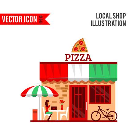 baker cartoon: Vector of pizza restaurant with terrace in front.