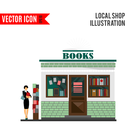 bookshop: Vector bookstore mall. Books shop building. Illustration
