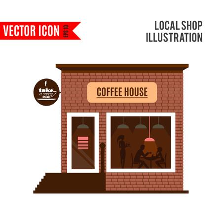 side menu: Restaurant or cafe illustration in flat style.