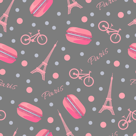 culinary tourism: Seamless romantic pattern with tasty macaroons, Eiffel Tower, Paris, bike and dots.