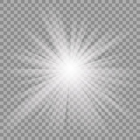 lucero: Blanco brillante explosión explosión de la luz con transparente. Vectores