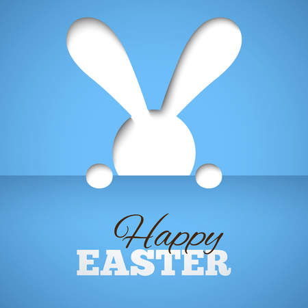 hiding: Happy easter card with hiding bunny and font on blue paper background. Illustration