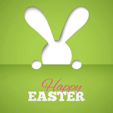 hiding: Happy easter card with hiding bunny and font on green paper background. Illustration