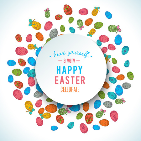 frame border: Colorful easter egg isolated on white background. Vector illustration for bright seasonal design. Many color food. Abstract holiday round frame border. Greeting ostern decoration. April paint style.