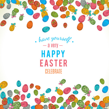 holiday food: Colorful easter egg isolated on white background. Vector illustration for bright seasonal design. Many color food. Abstract holiday frame and border. Greeting ostern decoration. April paint style.