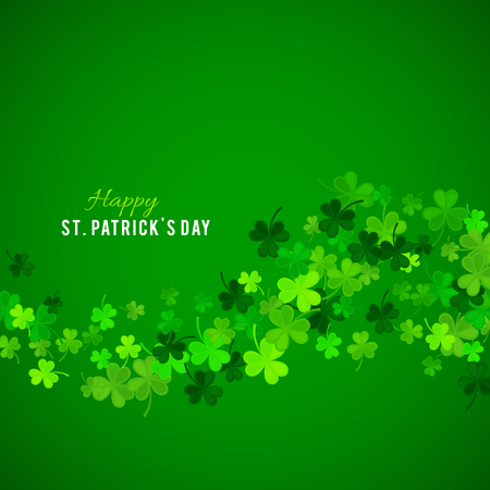 St Patricks Day background. Vector illustration for lucky spring design with shamrock. Green clover wave border isolated on green background. Ireland symbol pattern. Irish header for web site. Illustration