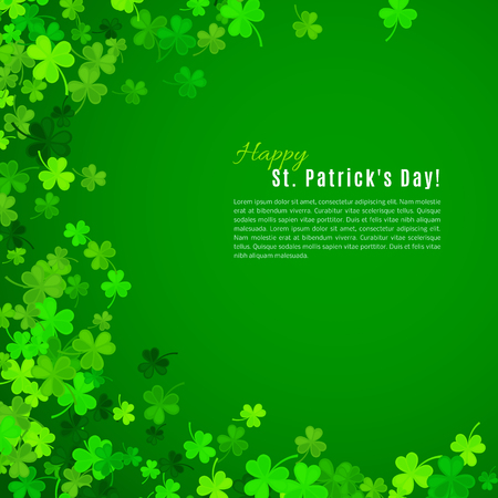 shamrock: St Patricks Day background. Vector illustration for lucky spring design with shamrock. Green clover border and frame isolated on green background. Ireland symbol pattern. Irish header for web site. Illustration