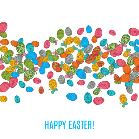 holiday food: Colorful easter egg isolated on white background. Vector illustration for bright seasonal design. Many color food. Abstract holiday frame and wave border. Greeting ostern decoration. April paint style Illustration
