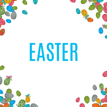 ostern: Colorful easter egg isolated on white background. Vector illustration for bright seasonal design. Many color food. Abstract holiday frame and border. Greeting ostern decoration. April paint style.