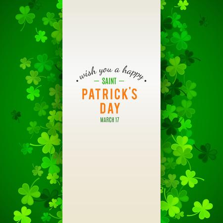 Contexte de la Saint-Patrick. Illustration vectorielle pour la conception de printemps chanceux avec shamrock. Frontière de trèfle vert et cadre de rayure isolé sur fond vert. Modèle de symbole de l'Irlande. En-tête irlandais pour le web.