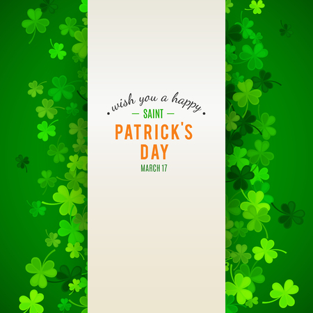 St Patricks Day background. Vector illustration for lucky spring design with shamrock. Green clover border and stripe frame isolated on green background. Ireland symbol pattern. Irish header for web.