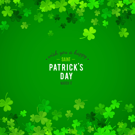 St Patricks Day background. Vector illustration for lucky spring design with shamrock. Green clover wave border isolated on green background. Ireland symbol pattern. Irish header for web site. 向量圖像