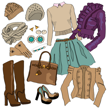 blouses: illustration of female fashion collection of clothes. Hand-drawn objects sketch isolated on white. Cute boots, shoes, sweaters, blouses and jackets. New spring collection. Beauty style Illustration
