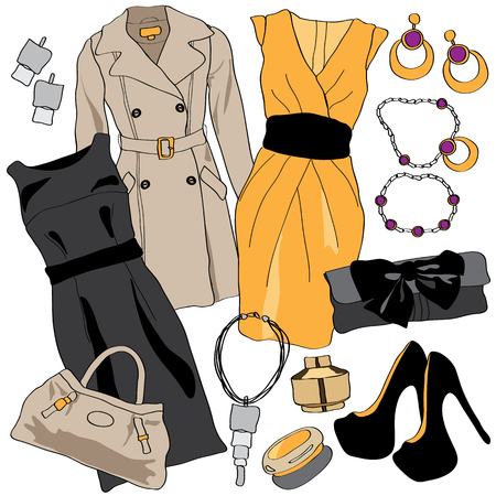 woman accessories: Woman wardrobe accessories set. Collection of dresses, coat, shoes and accessories. Fashion boutique poster. Illustration