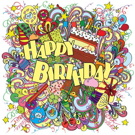 flores de cumpleaños: Feliz tarjeta de felicitación de cumpleaños en el fondo con elementos de celebración. saludo de cumpleaños de la diversión, brillante y original hecha en el estilo de dibujo. Regalos, pasteles y dulces. Cartel alegre.