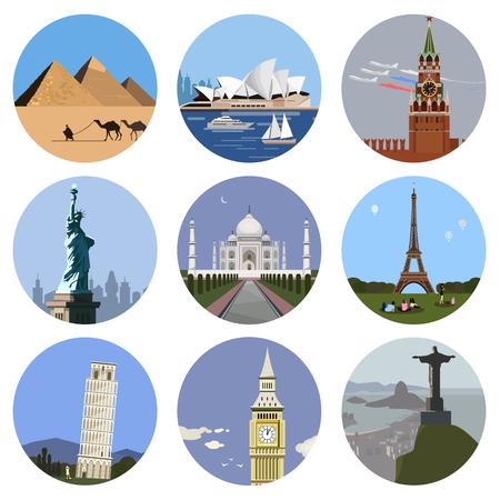 World landmarks flat icon set. Illustration