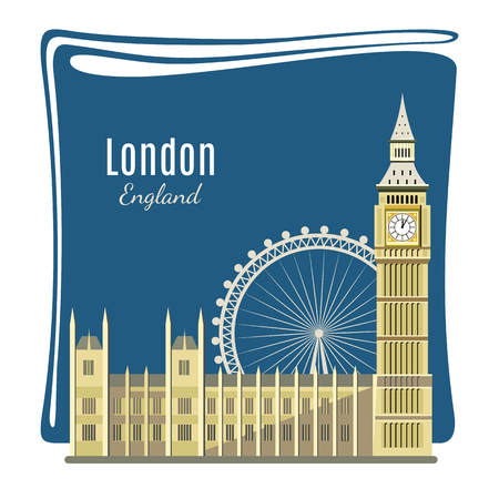 big ben tower: London landmark detailed illustration for card. Big Ben, London Eye, Westminster Abbey. Architecture of England. Places of interest in London. Great Britain capital panorama. Flat style design.