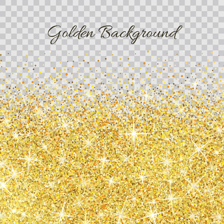 glitter glow: Gold glitter texture isolated on transparent background. Illustration
